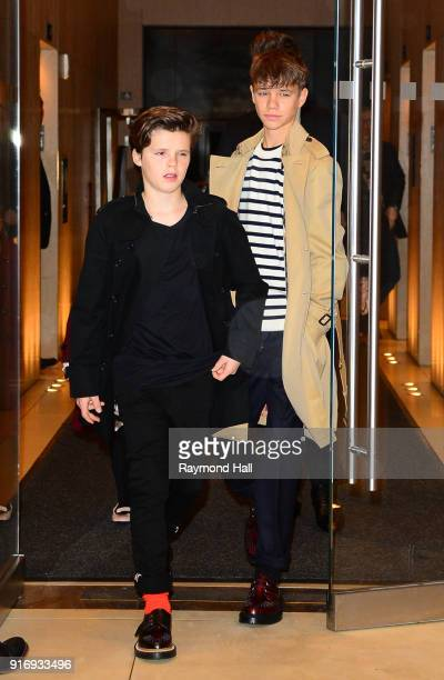Cruz Beckham Romeo Beckham are seen leaving a hotel in midtown on February 11 2018 in New York City