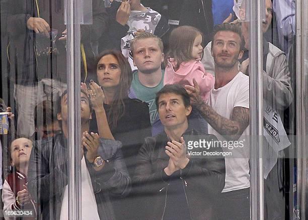 Cruz Beckham Romeo Beckham Connor Cruise Victoria Beckham Tom Cruise Harper Beckham and David Beckham attend Game Seven of the Western Conference...