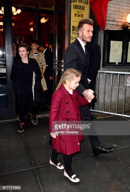 Cruz Beckham Romeo Beckham Harper Beckham and David Beckham arrive to Balthazar on February 11 2018 in New York City