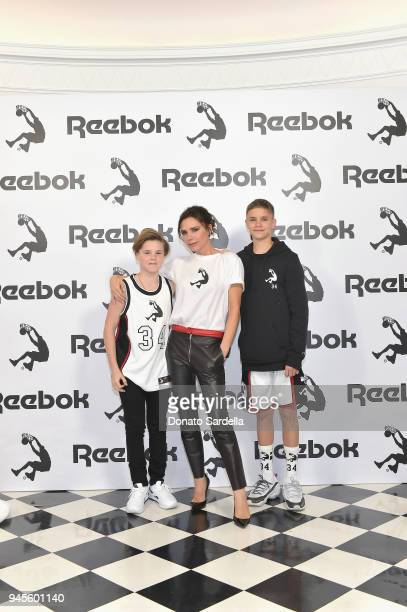Cruz Beckham Victoria Beckham and Romeo Beckham attend an event celebrating Reebok and Victoria Beckham celebrate their partnership Special guest...