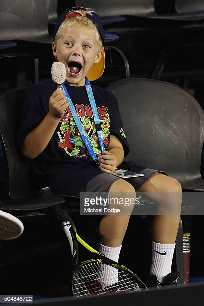 Cruz Hewitt son of Lleyton Hewitt of Australia enjoys an icecream during a practice session ahead of the 2016 Australian Open at Melbourne Park on...