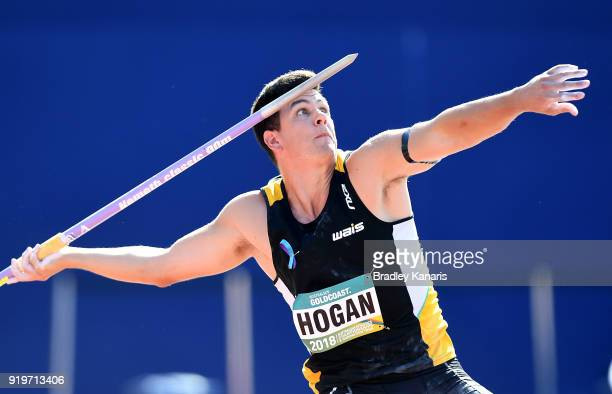 Cruz Hogan competes in the final of the Men's javelin event during the Australian Athletics Championships Nomination Trials at Carrara Stadium on...