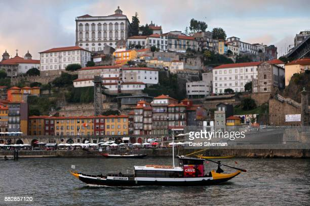 Cruz port house Rabelo boat a traditional Portuguese wooden cargo boat that used for centuries to transport people and goods along the Douro River...