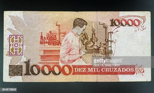 10000 cruzados banknote 19801989 reverse Carlos Chagas looking through a microscope Brazil 20th century