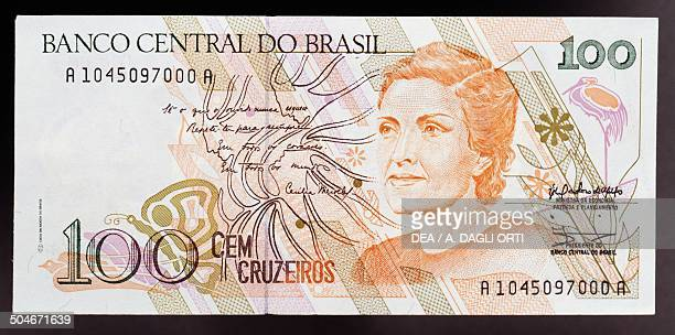 Cruzeiros banknote, 1990-1999, obverse, Cecilia Meireles de Carvalho Benevides . Brazil, 20th century.