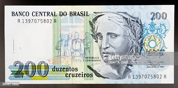 Cruzeiros banknote, 1990-1999, obverse, effigy of the Republic. Brazil, 20th century.