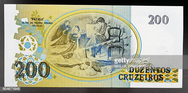 Cruzeiros banknote, 1990-1999, reverse, detail from A Patria , painting by Pedro Bruno. Brazil, 20th century.