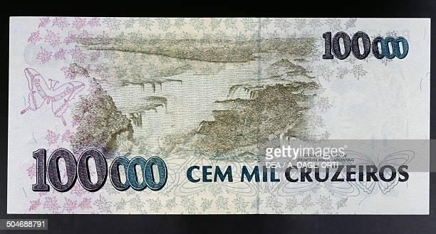 100000 Cruzeiros Banknote Reverse Iguazu Falls Brazil 20th Century