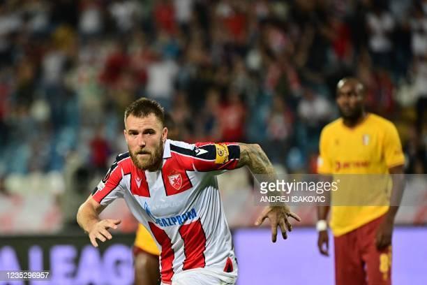 Crvena Zvezda Beograd's Serbian midfielder Aleksandar Katai celebrates after scoring a goal during the UEFA Europa League Group F football match...
