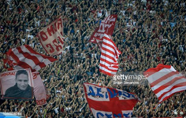 Crvena Zvezda fans give their support prior to the Group C match of the UEFA Champions League between Crvena Zvezda Belgrade and SSC Napoli at Rajko...