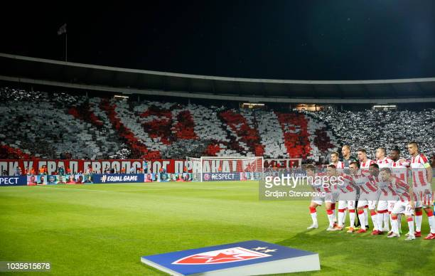 Crvena Zvezda players pose for a photo prior to the Group C match of the UEFA Champions League between Crvena Zvezda Belgrade and SSC Napoli at Rajko...