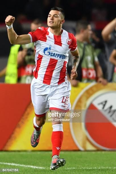 Crvena Zvezda's midfielder Nemanja Radonjic celebrates after scoring a goal during the UEFA Europa League match between FK Crvena Zvezda Beograd and...