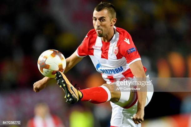 Crvena Zvezda's midfielder Nenad Krsticic controls the ball during the UEFA Europa League match between FK Crvena Zvezda Beograd and Bate Borisov at...