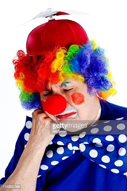 crying and pouting clown - sad clown stock photos and pictures