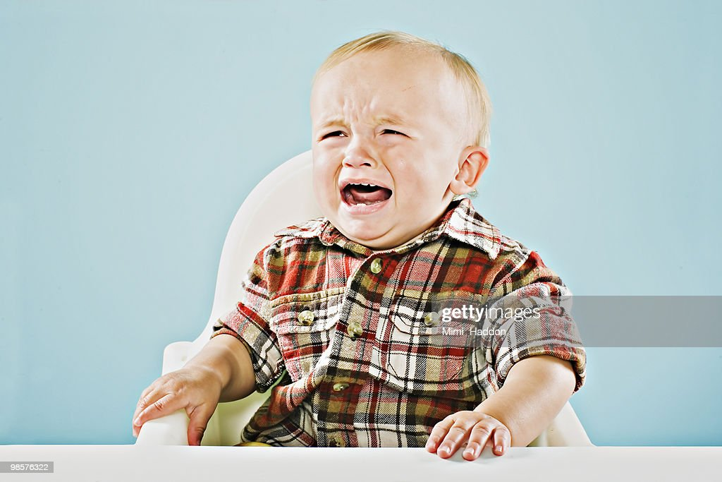 Crying One Year Old Baby Boy : Stock Photo