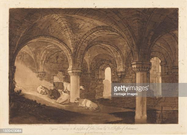 Crypt of Kirkstall Abbey, published 1812. Artist JMW Turner.