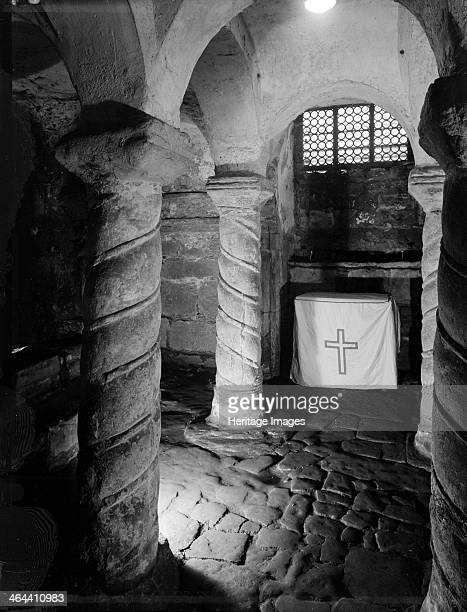 Crypt of St Wystan's church Repton Derbyshire 1950 An interior view of the AngloSaxon crypt of St Wystan's church A small altar has been set up...