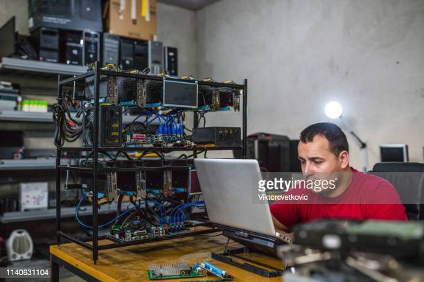 crypto currency mining on computer - cryptocurrency mining stock pictures, royalty-free photos & images
