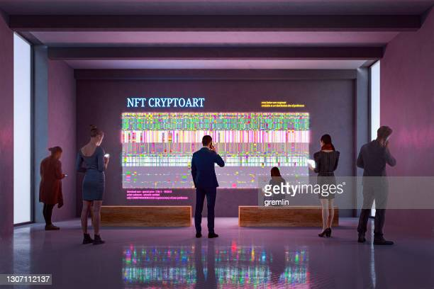 nft cryptoart display in art gallery - bid stock pictures, royalty-free photos & images