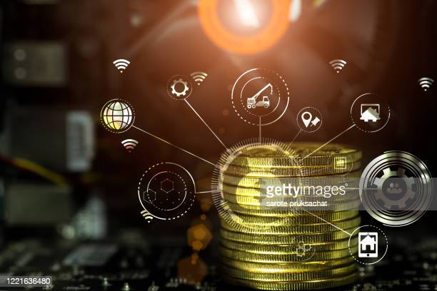 cryptocurrency and business continuity line image for business concept. - kryptowährung stock-fotos und bilder