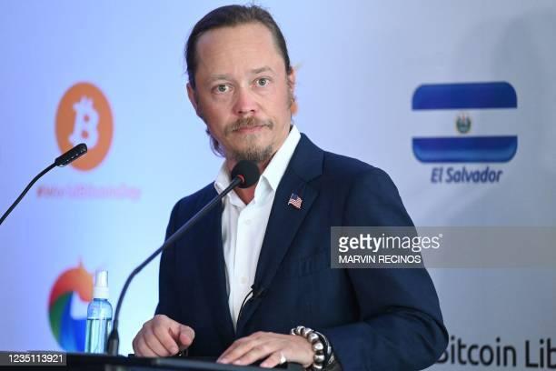 Cryptocurrency billionaire Brock Pierce speaks during a press conference in El Sunzal beach, La Libertad, El Salvador on September 7, 2021. - El...