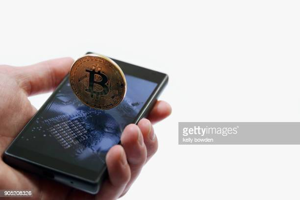cryptocurrency bitcoin on mobile phone