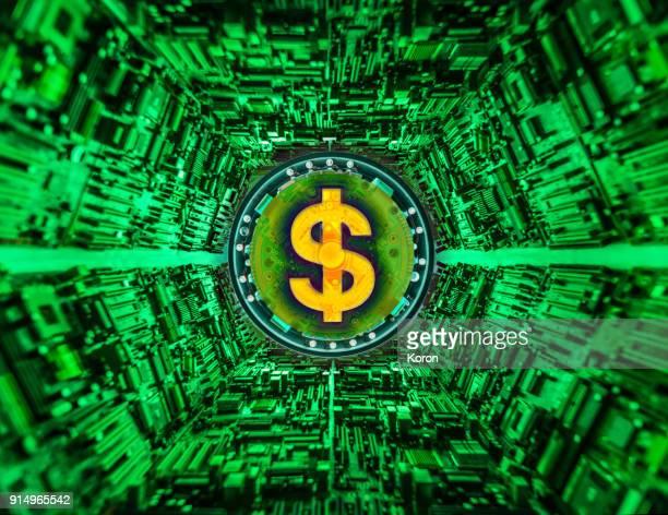 Cryptocurrency concept super processor machine