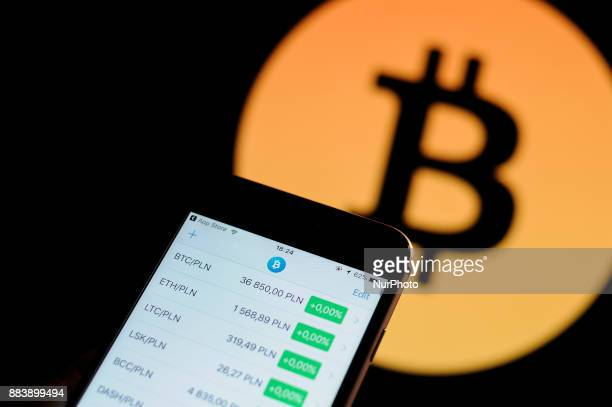 A cryptocurrency markets application is seen with the Bitcoin logo in the background in this photo illustration on December 1 2017