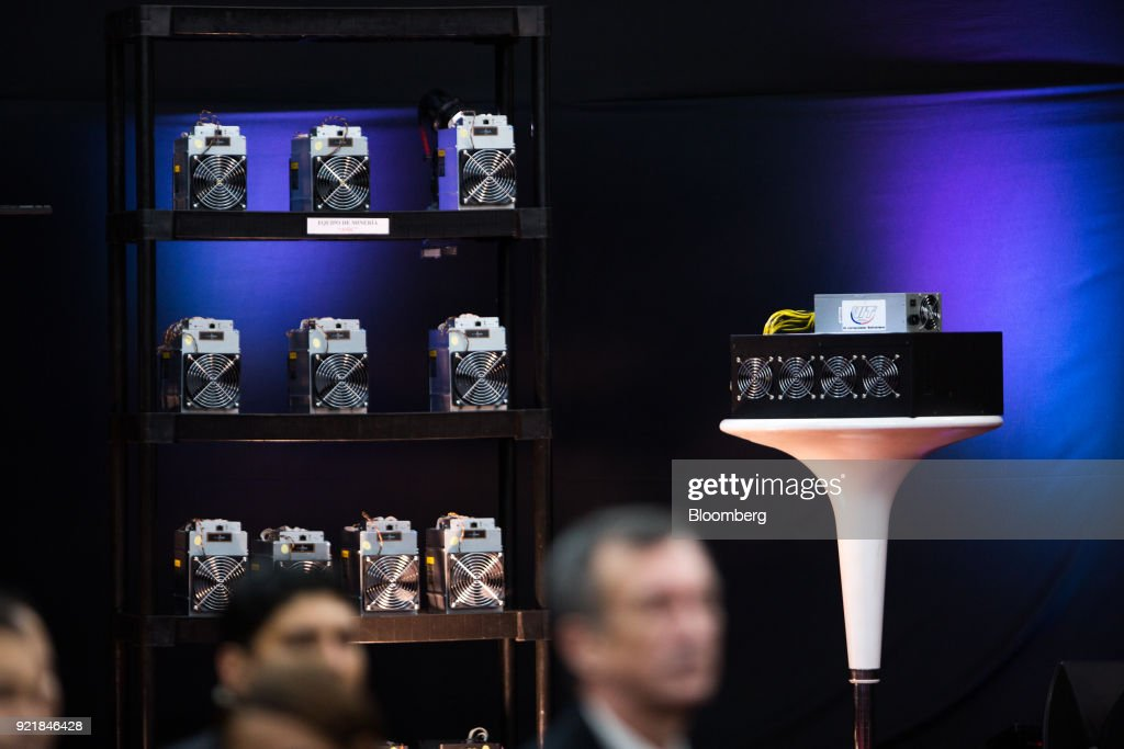 Cryptocurrency mining computers are seen during the Petro cryptocurrency launch event in Caracas, Venezuela, on Tuesday, Feb. 20, 2018. Maduro launched Petro to use as a new alternative payment system amid hyperinflation and the eroding bolivar. Photographer: Wil Riera/Bloomberg via Getty Images