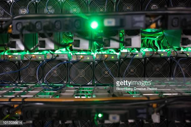 cryptocurrency mining rigs sit on racks at a facility - cryptocurrency mining stock pictures, royalty-free photos & images