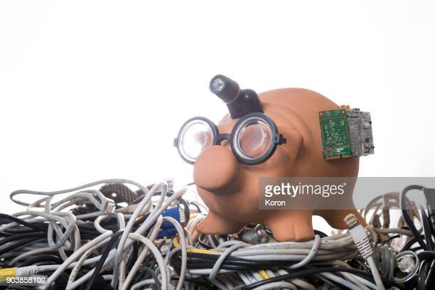 Cryptocurrency - Nerd Bitcoin Pig Bank
