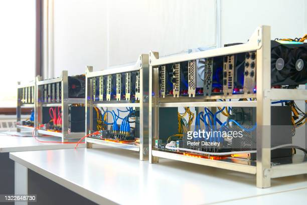 Cryptocurrency units built to mine and to trade bitcoin at Trio Mining on June 3,2021 in London, England.