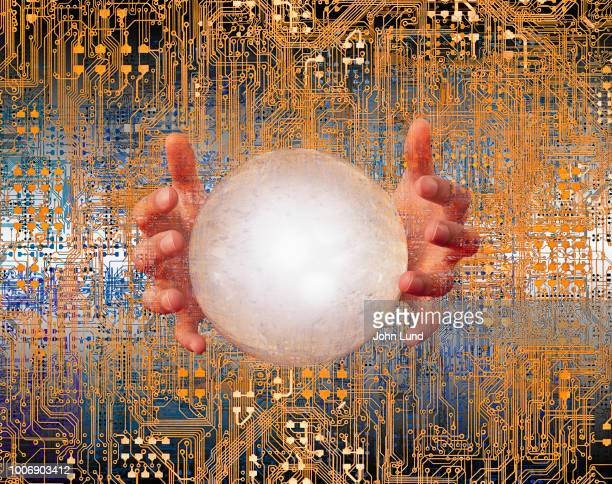 crystal ball and the future of technology - john lund stock pictures, royalty-free photos & images