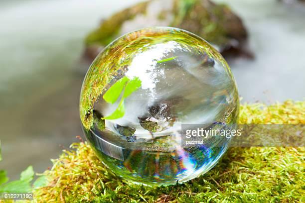 Crystal ball on moss, Aomori Prefecture, Honshu, Japan