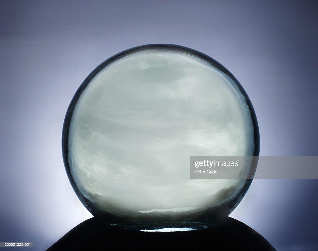 Crystal ball on stand, close-up : Bildbanksbilder
