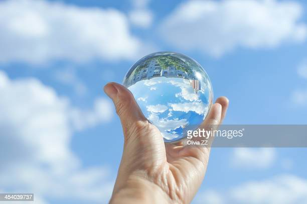 Crystal ball under the clear sky