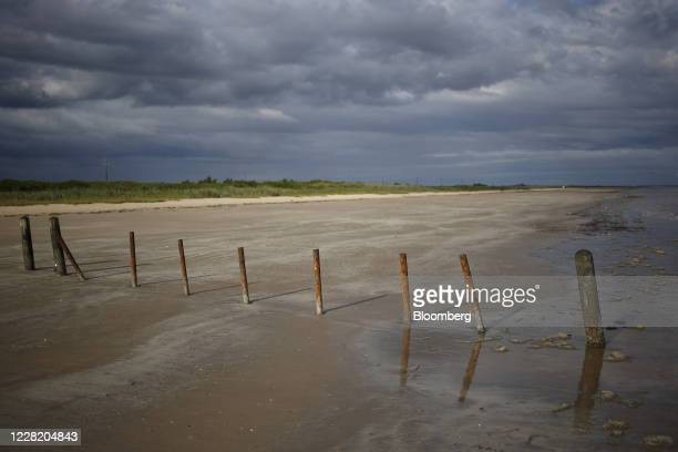 Crystal Beach is empty ahead of Hurricane Laura in Sabine Pass, Texas, U.S., on Tuesday, Aug. 25, 2020. Hurricane Laura is poised to become a...