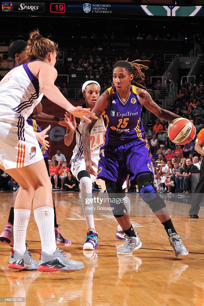 Crystal Bradford #15 of the Los Angeles Sparks handles the ball against the Phoenix Mercury on September 11, 2015 at the US Airways Center in Phoenix, Arizona.