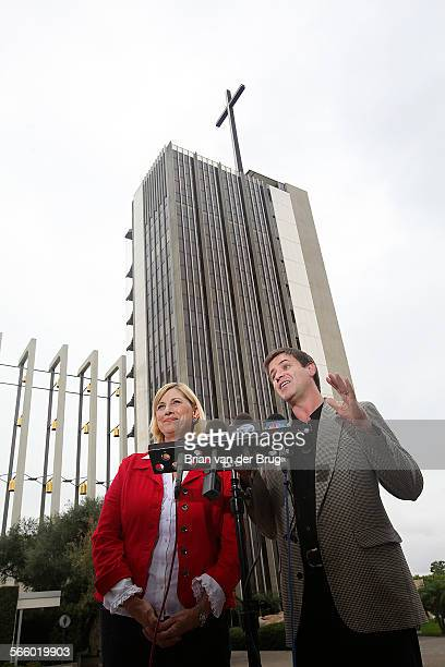 Crystal Cathedral Senior Pastor Sheila Schuller Coleman, left, and board member Jim Penner , right, at a news conference Monday afternoon October 18...
