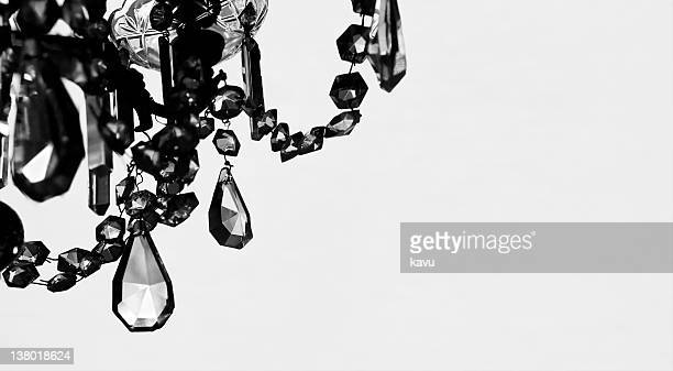 crystal Chandelier in black & white, copy space