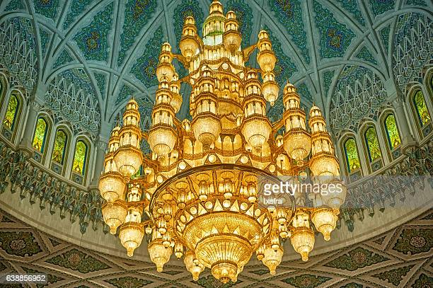 crystal chandelier inside the grand mosque. - crystal mosque stock pictures, royalty-free photos & images