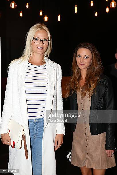 Crystal Chenery and Summer Brooks attend a screening of Eddie the Eagle at Hoyts Sylvia Park on April 16 2016 in Auckland New Zealand