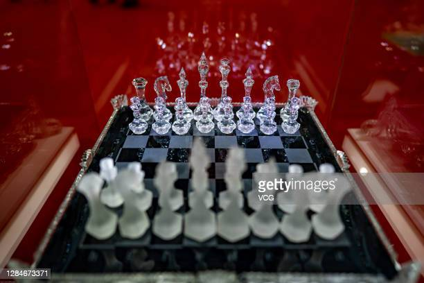Crystal chess from Russia is on display during the 3rd China International Import Expo at the National Exhibition and Convention Center on November...