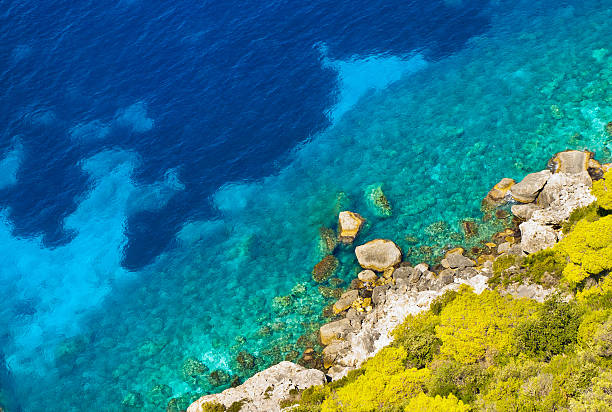 Crystal clear blue sea and the shore