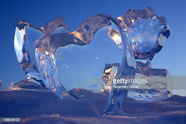 Crystal clear heart ice sculptures.