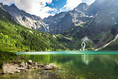 Crystal clear mountain lake and rocky mountains