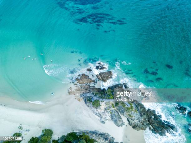 crystal clear waters  seen from above - gold coast queensland stock pictures, royalty-free photos & images