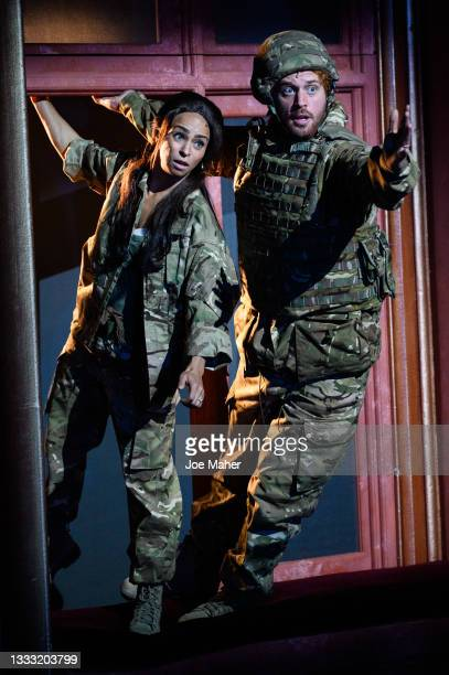 """Crystal Condie as Meghan and Tom Durant-Pritchard as Prince Harry during dress rehearsals of the play """"The Windsors: Endgame"""" at the Prince Of Wales..."""