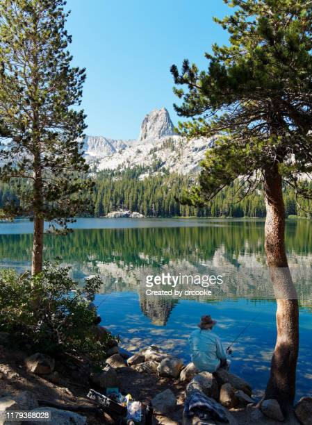 crystal crag reflected on the surface of lake george - images of mammoth stock pictures, royalty-free photos & images