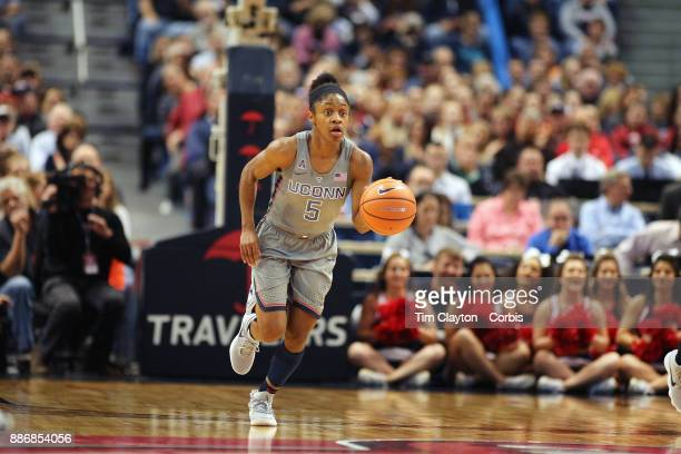 Crystal Dangerfield of the Connecticut Huskies in action during the the UConn Huskies Vs Notre Dame NCAA Women's Basketball game at the XL Center...